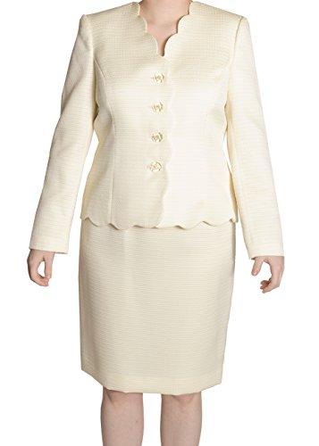 Le Suit Petite Scalloped-Hem Skirt Suit Set, City Blooms Lemon Ice, (Fully Lined Petite Suit)