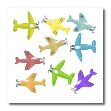 3dRose ht 44029 1 Colorful Airplanes Background Iron