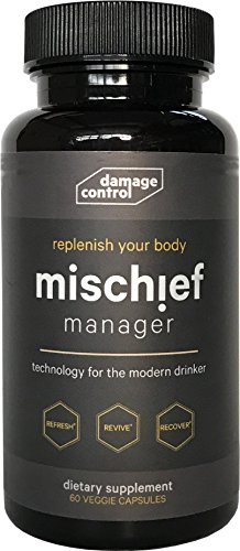 Mischief Manager: Hangover Remedy & Prevention Supplement Pills with Liver Detox & Support | Adaptogens and Nootropics - contains Milk Thistle, L-Theanine, Ginger, Damage Recovery, Ashwagandha