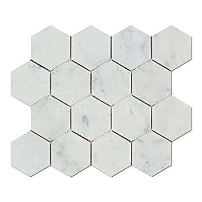 Carrara White Italian (Bianco Carrara) Marble Hexagon Mosaic Tile, Polished