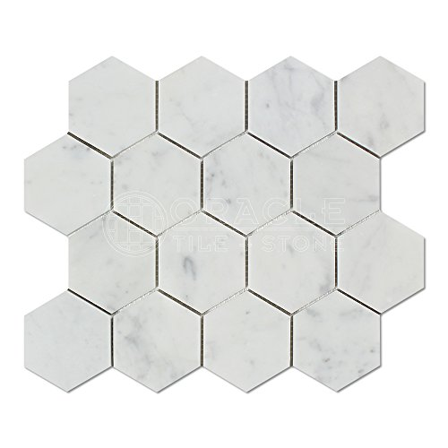 Carrara White Italian (Bianco Carrara) Marble 3 inch Hexagon Mosaic Tile, Polished (Honed Or Polished Marble For Shower Walls)
