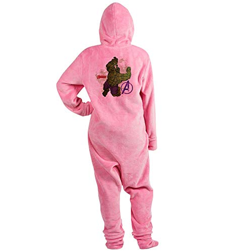 CafePress Avengers Hulk Watercolor Novelty Footed Pajamas, Funny Adult One-Piece PJ Sleepwear Pink -