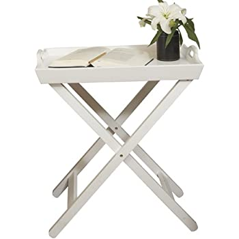 Folding Side Tray Table, Nesting Table, End Table With Removable Tray,  Bright White