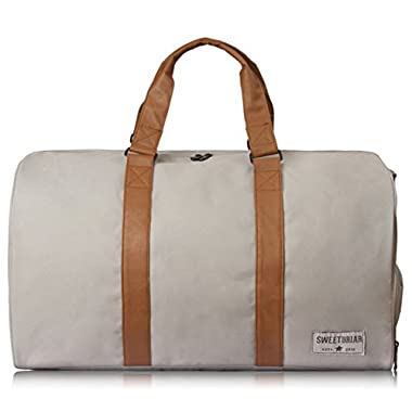 Sweetbriar Duffel Duffle Bag Classic Weekender with Shoe Compartment, Gray
