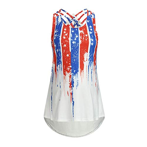 zitan Women Clothes Plus Size Flag Print Striped Sleeveless Vest Top Strapless Shirt]()