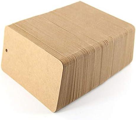 JYCDD 1000 Kleine Papieranhänger Natur Kraftpapier-Etikett Geschenk-Anhänger Braun Namensschild Tischkarte 9 X 5 cm Hänge-Etikett Preisschild Anhängsel Geschenkanhänger,001,9 * 5cm