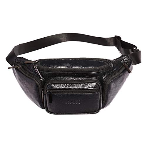 Vintage Leather Fanny Pack Waist Bag,Crytech Large Capacity Multifounction Solid Zippers Belt Hip Bum Purse for Outdoors Workout Traveling Casual Running Hiking Cycling for Men Women (Black)