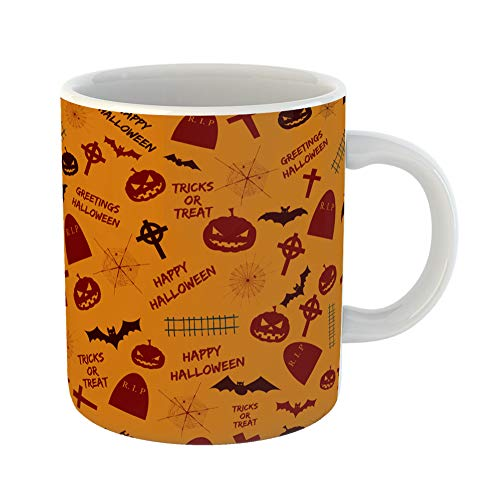 Emvency Coffee Tea Mug Gift 11 Ounces Funny Ceramic Greetings Halloween Abstract Holiday Symbols and Text Tricks Treat on Orange Gifts For Family Friends Coworkers Boss -