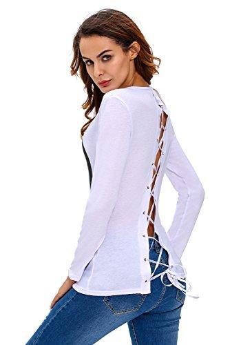 Nuovo donne bianco MK Lace Up posteriore a maniche lunghe t-shirt Club Wear vestiti taglia S UK 10EU 38