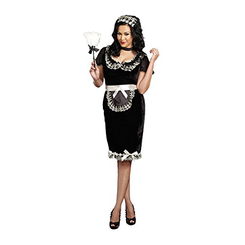 Dreamgirl Women's Plus-Size Keep It Clean Maid Costume, Black, - Velvet Maid French Costume