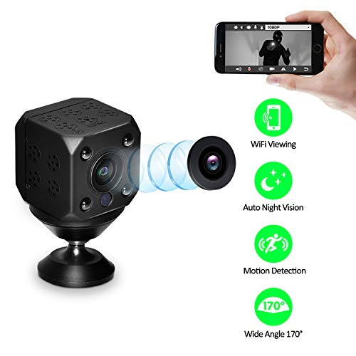 Cheap Wireless WiFi Spy Camera, Mini Hidden Camera HD 1080P Video Recorder Auto Night Vision for Home Security Motion Detection Nanny Cam Small Cam for Indoor Outdoor