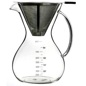 TOOGOO Vierta Sobre Juego de Cafetera - Café Elegante Maceta de Gotero W/Glass Jarra y Vidrio Permanente + Filtro de Acero Inoxidable: Amazon.es: Hogar