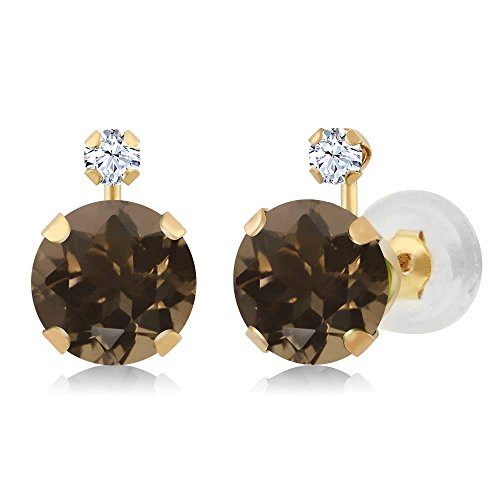 Gem Stone King 1.68 Ct Round Brown Smoky Quartz White Created Sapphire 14K Yellow Gold Earrings