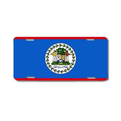 BrownInnovativeMedia Belize World Flag Metal License Plate Car Tag ()