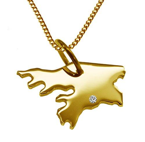Endroit Exclusif Guinée-Bissau Carte Pendentif avec brillant à votre Désir (Position au choix.)-avec Chaîne-massif Or jaune de 585or, artisanat Allemande-585de bijoux