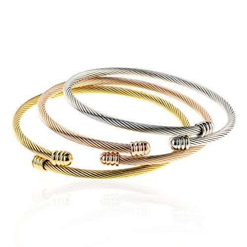 EDFORCE 3 Tone Stainless Steel Hypoallergenic Stacked Twisted Cable Wire Bangle Adjustable Cuff Bracelet Set, Set of 3, 6