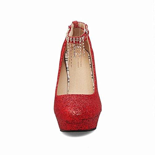 Quaste Court Schuhe Mee High Heel Pailletten Damen Chic Knöchelriemen Shoes Glänzende nwFqT