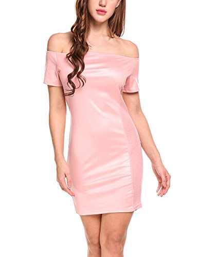Zeagoo Women Off The Shoulder Short Sleeve Glitter Party Club Bodycon Mini Dress (Pink Dotted Dress)