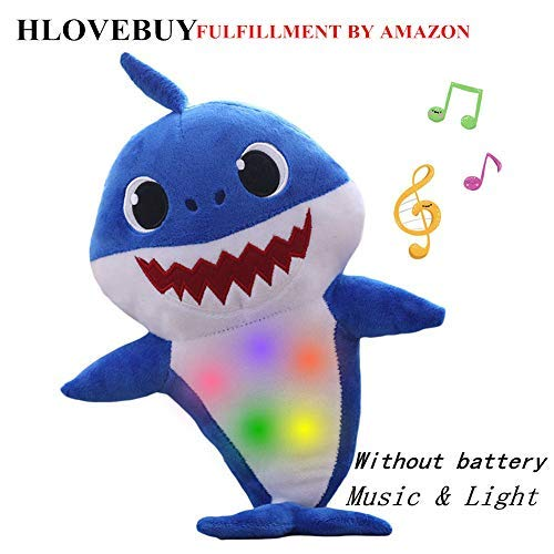 - HLovebuy Baby Shark Official Singing Plush, Music Sound Baby Shark Plush Doll Soft Baby Cartoon Shark Stuffed & Plush Toys Singing English Song for Kids Gift Children Girl