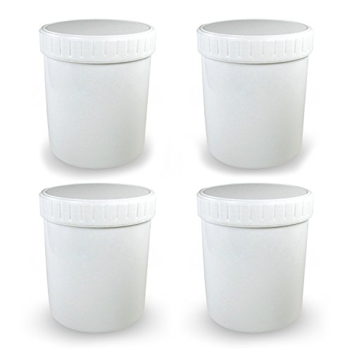 BPA Free 32 Oz. (1 Liter) Wide Mouth High Density Polyethylene (HDPE) White Plastic Jars with Pressurized Screw Top Lid (Set of 4) For Hot And Cold Items, Food, Ice Cream, Salad, Liquid, MULTI-USE