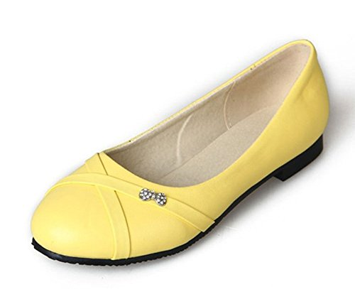 Aisun Women's Simple Comfy Round Toe Dress Slip On Loafers Flats Shoes