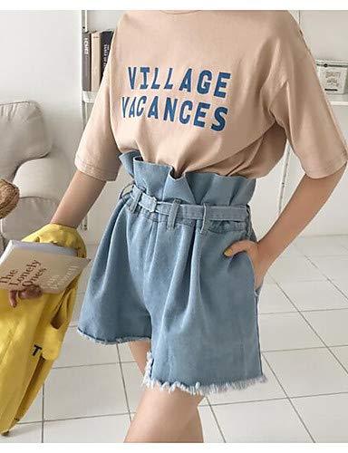 en Blue Couleur Coton Femme Light Unie Jeans YFLTZ Pantalon tRwqpSxUW7