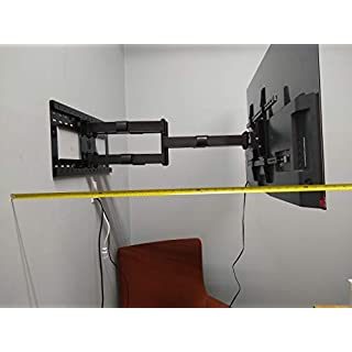 """Dual Arm 36"""" Extension Articulating TV Wall Mount 55"""" to 82"""" with 16""""-24"""" Stud Support, 150 lbs Load for Samsung LG"""