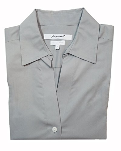 3/4 Sleeve Oxford Shirt (Foxcroft NYC Womens Pinpoint Oxford Shirt Non-Iron Stretch Poplin Blouse (X-Large, Silver))