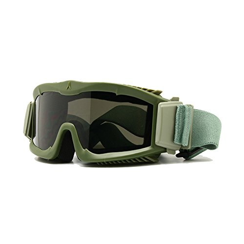 - EnzoDate Military Alpha Ballistic Goggles Tactical Army Sunglasses Airsoft CS Paintball Glasses 3 Lens Kit (Army Green)