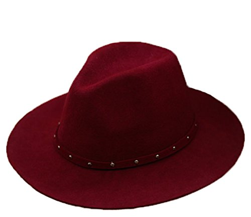 MineSign Women's Fedora Hat Wool Felt Jazz Hat Wide Brim Classic Rivet Retro Hats, Wine Red Classic Red Felt Hat