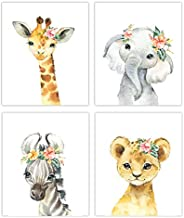 Little Baby Watercolor Animals Safari Prints Set of 4 (Unframed) Nursery Decor Art (8x10)
