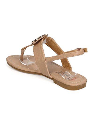 Dbdk Ee84 Kvinner Leatherslingback T-stropp Thong Sandal - Naken