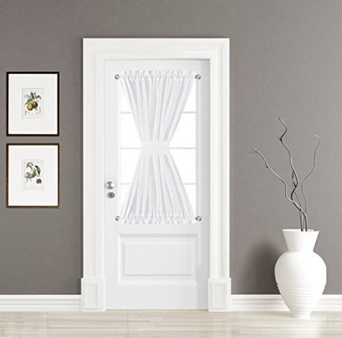 BETTER HOME USA BHU Elegant Home Decorative Linen Textured Sheer Curtains for Sidelight French Door, Rod Pocket Door Panel, 1 Panel, W30 x L40-Inch - White (Door Rod Pocket Curtain Panel)