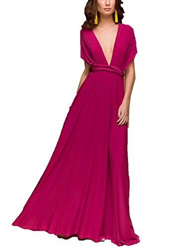 Multi Wear Long Dress - CHOiES record your inspired fashion Women's Convertible Maxi Dress Multi-Way Strap Maxi Dress S Magenta