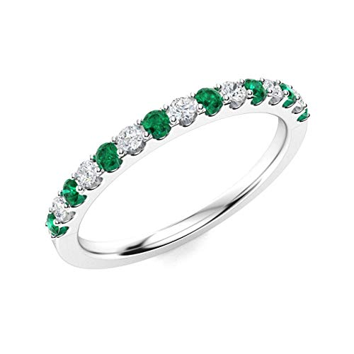 Diamondere Natural and Certified Emerald and Diamond Wedding Ring in 14K White Gold | 0.38 Carat Half Eternity Stackable Band for Women, US Size 7.5