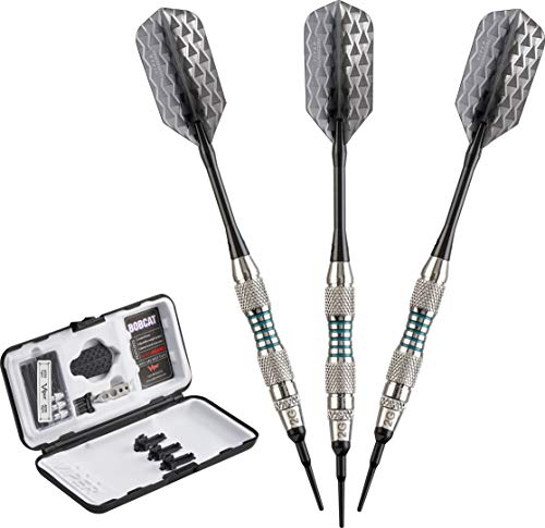 (Viper Bobcat Adjustable Weight Soft Tip Darts with Storage/Travel Case: Nickel Silver Plated, Light Blue Rings, 16-18)