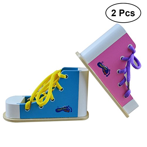 TOYMYTOY 2PCS Learn to Tie Shoes Shoe Tying Teaching Kit Tie Shoes Random Educational Toys Children Wooden Toys Toddler Lacing Shoes Early Education Montessori (Blue + Pink)