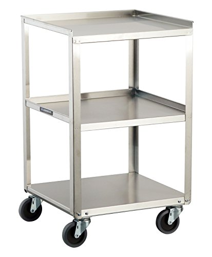 - Lakeside 359 Stainless Steel Mobile, Equipment Stand, Weight Capacity 300 lb, 3 Shelves, 16-3/4
