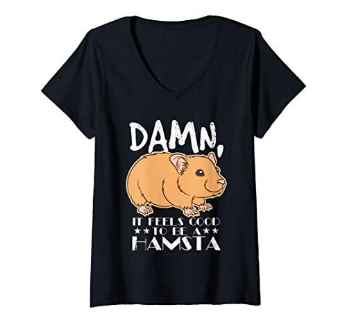 Womens Hamster Lover - Damn, It Feels Good To Be A Hamsta  V-Neck T-Shirt from Funny Hamster Animal Lover Shirt Designs