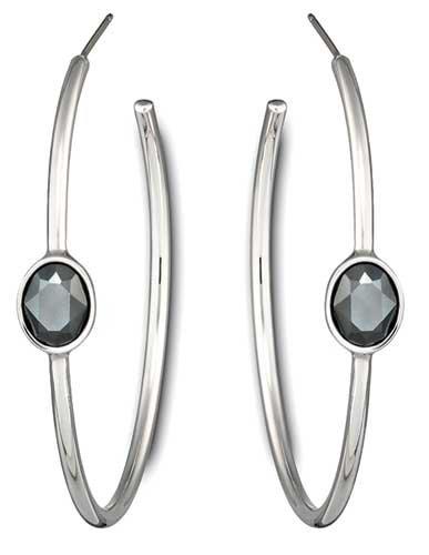 Jet Hematite Pierced Earrings - 4
