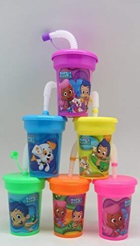 6 Bubble Guppies Stickers Birthday Sipper Cups with lids Party Favor Cups