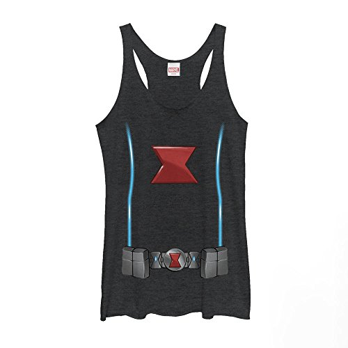 Marvel Women's Black Widow Costume Black Heather Racerback Tank Top