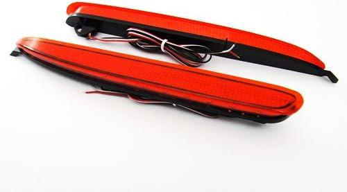 2x Red Lens Rear Bumper Reflector LED Fog Tail Stop Brake Light DRL For 2002-07 Mazda6 Atenza Mazdaspeed6