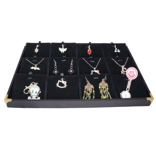 Black Jewelry Pendant & Charm Display Case with Golden Decorative Corner, 35x24cm, 12 Compartments from BeadsMonster