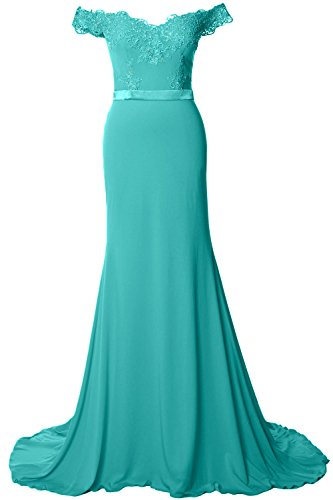 Off Turquoise Jersey Dress Long Gown the MACloth Prom Shoulder Gorgeous Evening Formal 1gRUnwx