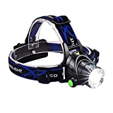 Taykoo Headlight Headlamp 3 Modes 90 Degree Adjustable Rechargeable LED Head Torch for Camping Running Hiking and Reading Biking (L2 Single Headlight)