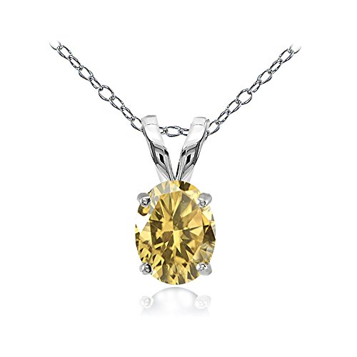Sterling Silver Citrine 8x6mm Oval Solitaire Necklace