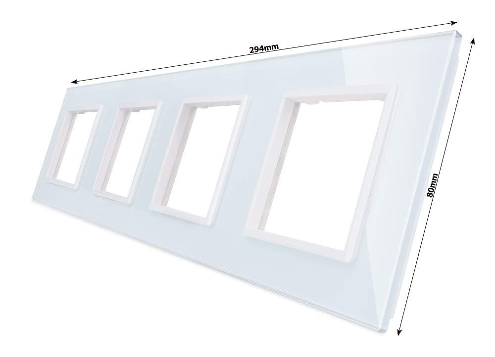 LIVOLO Glasblende 2 Fach Rahmen Glasrahmen für Steckdose VL-C7-SR//SR-11-A Weiss