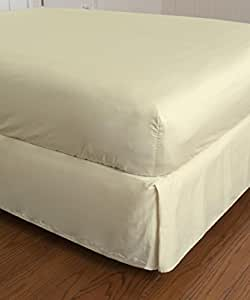 Warm Things Home 300 Egyptian Cotton Sateen Fitted Bottom Sheet Ivory Queen