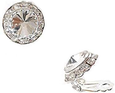 Topwholesalejewel Silver Crystal Rhinestone 15Mm Rondelle Circle Round Shape Clip Earring